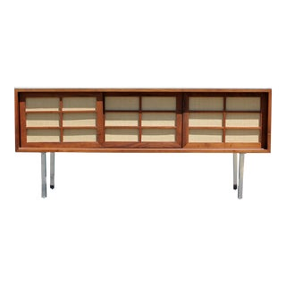 Mid Century Modern McCobb Knoll Style Vitrolite Chrome Wood Credenza For Sale