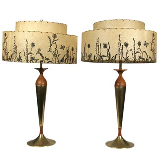 Mid-Century Mahogany and Brass Table Lamps For Sale