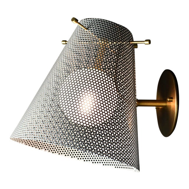 Voile Wall Sconce in Brass and Gray Enamel Mesh by Blueprint Lighting For Sale
