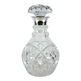 John Grinsell & Sons Cut Crystal Decanter With Sterling Silver Top Rim For Sale