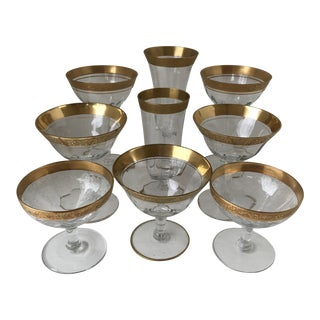 Assorted Tiffin Rambling Rose Glasses-Set of 9 For Sale