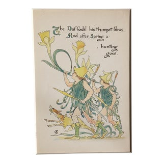 Late 19th Century Antique Daffodil Alphabet Lithograph Print For Sale
