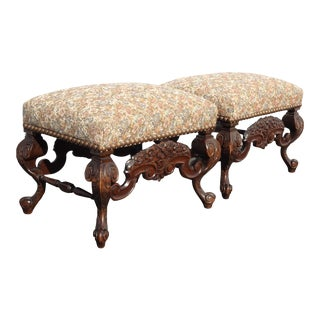 Pair Vintage Ornate French Louis XVI Benches W Tapestry Fabric and Large Nails For Sale