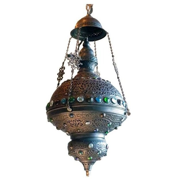 Moroccan Lantern with Glass Beads - Image 1 of 4