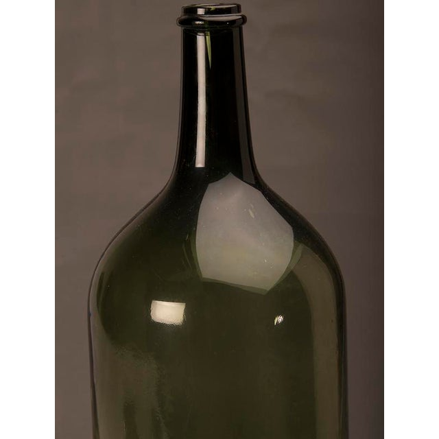 Late 19th Century Tall green glass hand blown bottle from France c.1870 For Sale - Image 5 of 7