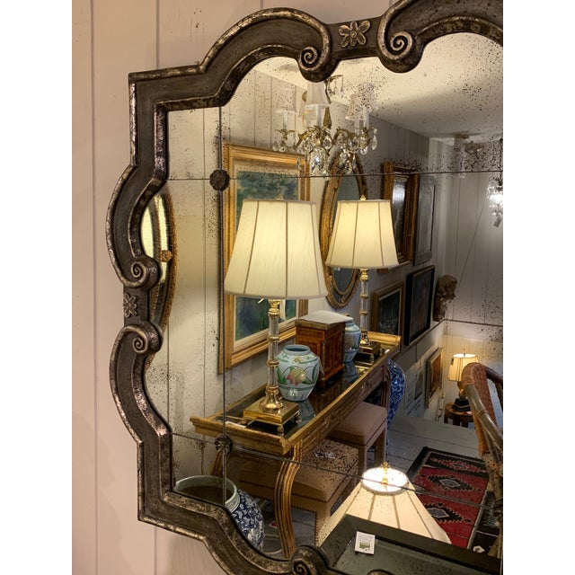 Traditional Black and Silvered Ghosted Aged Mirrors -A Pair For Sale - Image 3 of 10