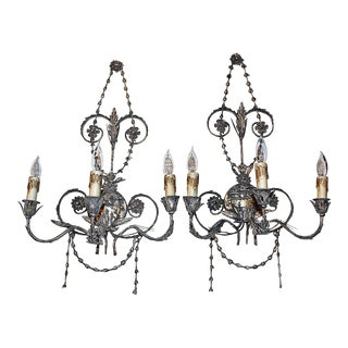 Silvered Wall Sconces, Pair