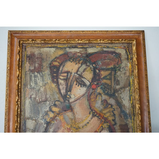 Vintage Ukrainian Abstract Oil Painting of a Woman For Sale In Nashville - Image 6 of 8