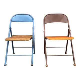 Pair of Metal and Bent Wood Folding Chairs For Sale