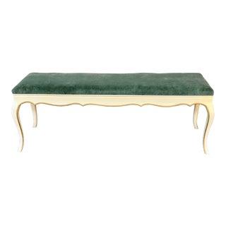 1980s Vintage French Provincial Velvet Upholstered Dressing Bench For Sale