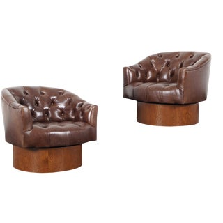 1960s Vintage Leather Swivel Lounge Chairs by Milo Baughman - a Pair For Sale
