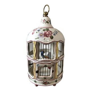 Antique French Faience Porcelain Birdcage For Sale