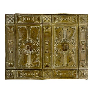 Art Nouveau Brass Relief Plaque For Sale