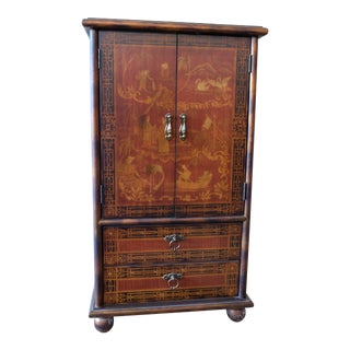 Vintage Chinese Scene Chest, With 2 Drawers