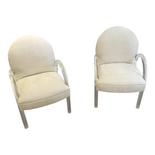 1970s Vintage Lucite Arm Chairs- a Pair of Pace Waterfall For Sale