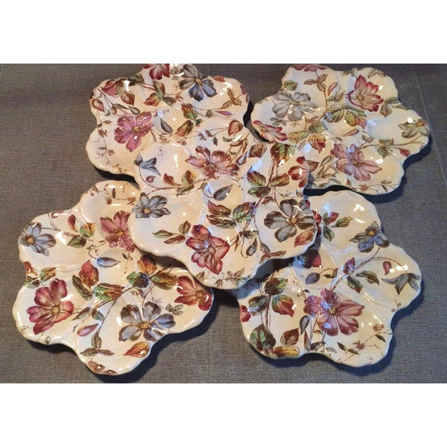 19th Century English Oyster Plate With Flowers Adderley For Sale - Image 4 of 9