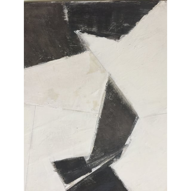 Abstract Black, White and Beige Abstract Painting For Sale - Image 3 of 8