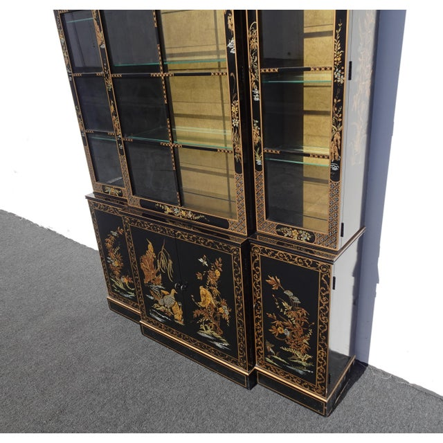 Black Vintage Drexel Oriental Asian Chippendale Chinoiserie Black China Cabinet Hutch For Sale - Image 8 of 13