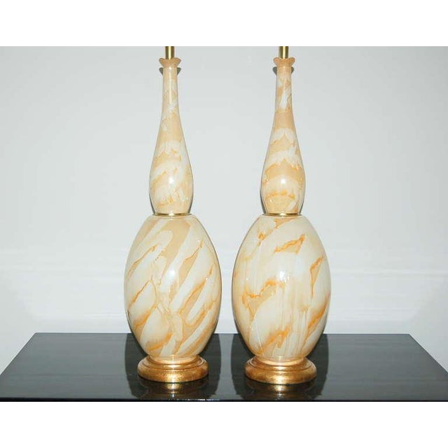 Contemporary Vintage Italian Glass Table Lamps Peach Swirl For Sale - Image 3 of 8
