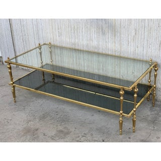 Mid Century Spanish Brass & Bronze Coffe Table With Smoked Glass & Double Leg Preview