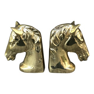 1970's Vintage Brass Horse Head Bookends - A Pair For Sale