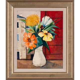 """Circa 1960 """"Fleurs"""" Outdoor Floral Still Life Oil Painting by Charles Levier, Framed For Sale"""
