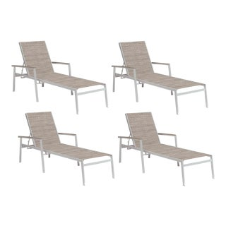 Outdoor Sling Chaise Lounge, Vintage and Beige (Set of 4) For Sale