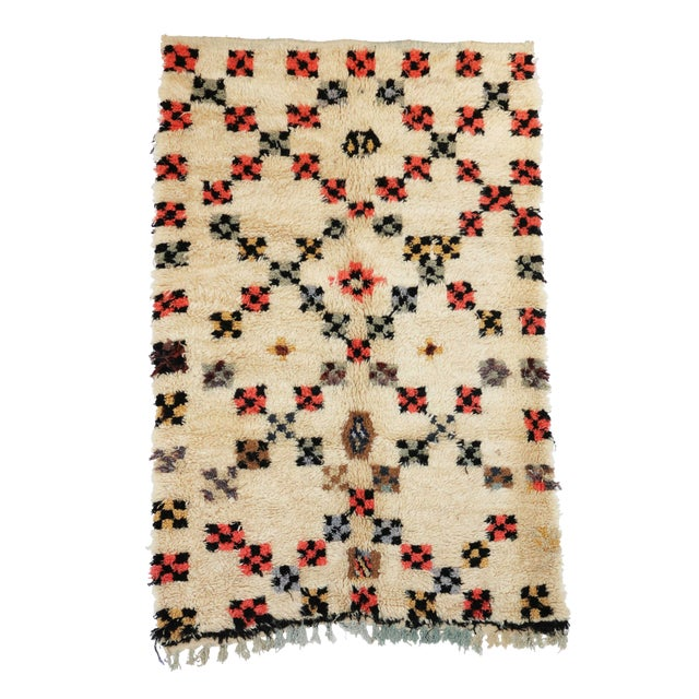"Vintage Azilal Moroccan Berber Rug - 4'2"" x 6'4"" - Image 1 of 3"