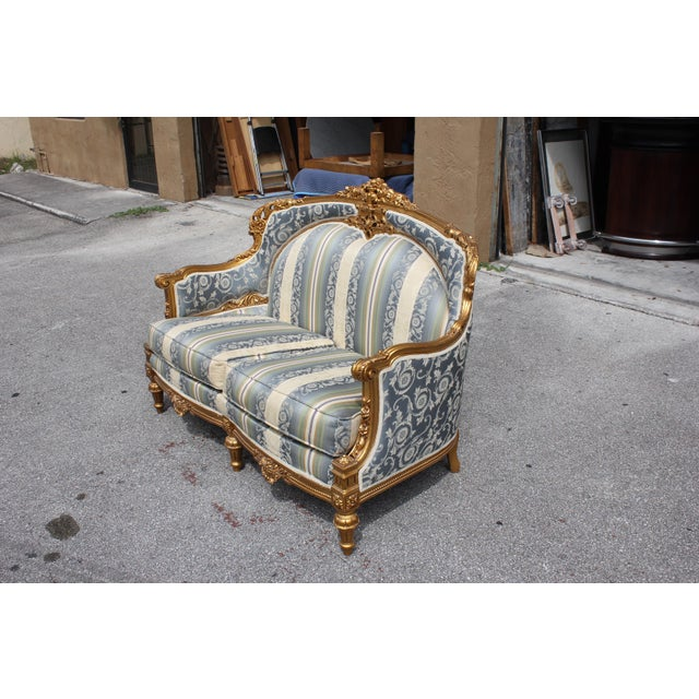 1940s Vintage French Louis XVI Style Giltwood Loveseat For Sale - Image 9 of 13