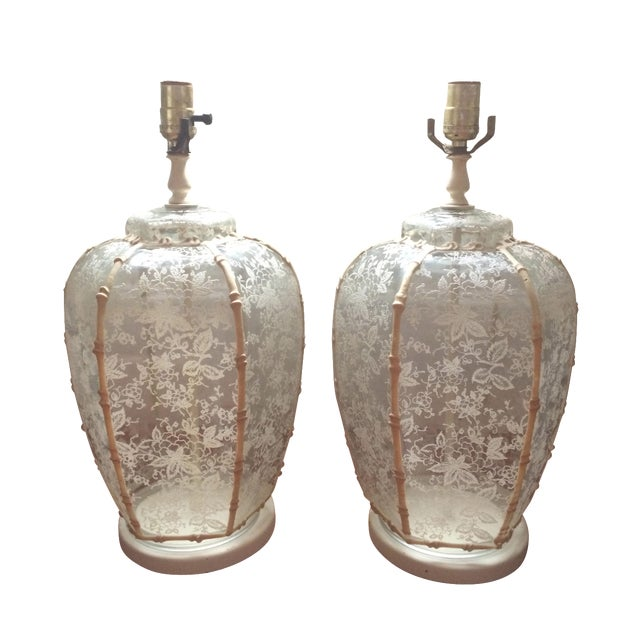 1960's Hollywood Regency Lace Glass Lamps - A Pair - Image 1 of 5