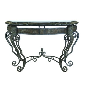 Maitland Smith Iron Base Marble Top Console Table For Sale