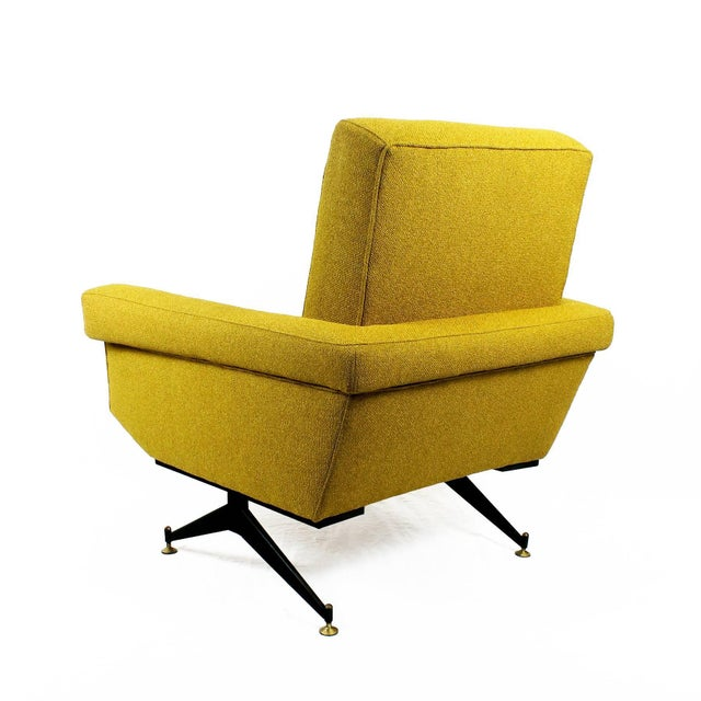 1960s 1960s Pair of Padded Armchairs, Yellow Upholstery, Steel, Brass - Italy For Sale - Image 5 of 11