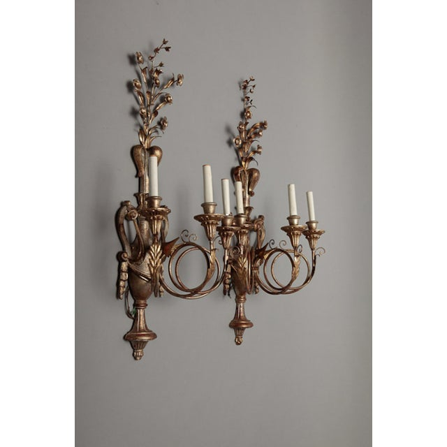 Vintage Italian Giltwood and Metal Sconces - Pair - Image 3 of 5