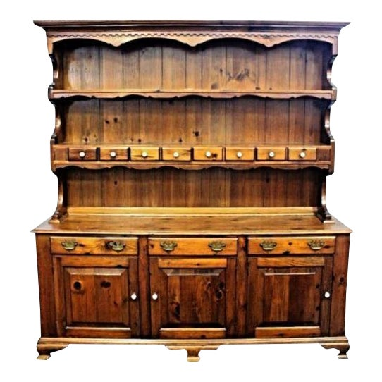 Knotty Pine Kitchen Cabinets For Sale: Antique Pine Breakfront China Hutch
