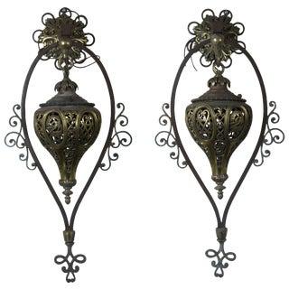Moroccan Moorish Style Iron Pierced Brass Wall Scones Oil Lantern Dragons - a Pair For Sale