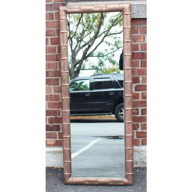 Mid-Century Modern Faux Bamboo Weathered Copper Rectangular Mirror For Sale - Image 9 of 10