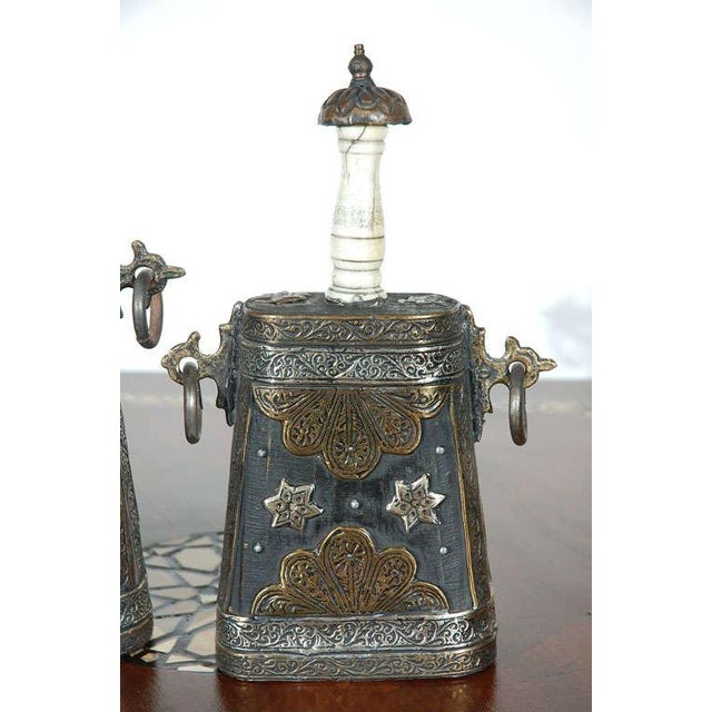 Islamic Set of Two Moroccan Antique Tribal Gun Powder Case Flask For Sale - Image 3 of 9