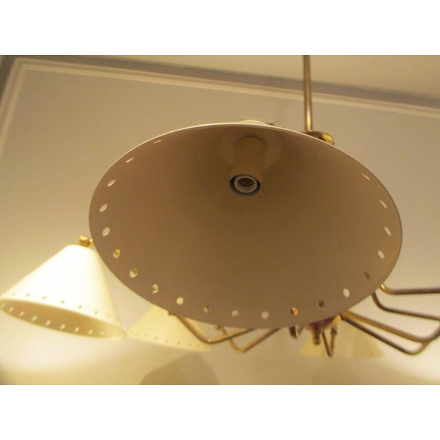 Custom Six-Light Brass and Tole Fixture in the Mid-Century Manner For Sale In New York - Image 6 of 7