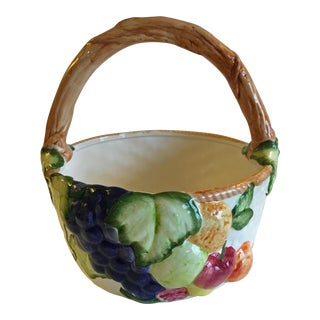 1990s Cottage Ceramic Fruit and Floral Basket For Sale