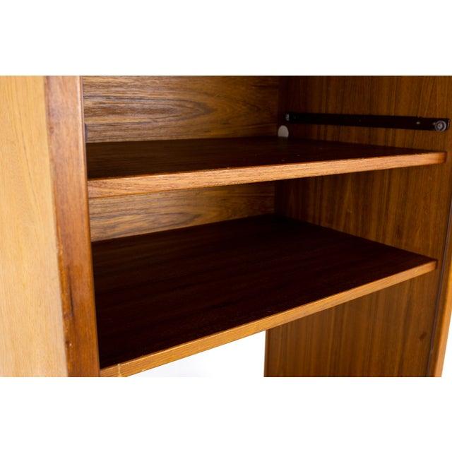 Wood Mid Century Teak Tambour Door Upright Storage Credenza For Sale - Image 7 of 13
