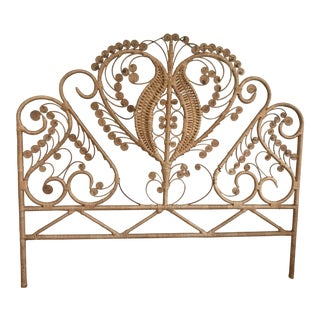Shabby Chic Burnt Bamboo/Rattan Ornate Headboard