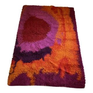 Mid-Century Modern Rya Rug - Bold Purple, Pink, Red, Orange Shag For Sale