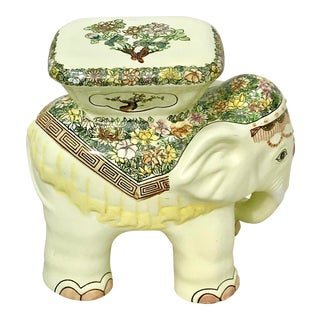 1980s Vintage Elephant Garden Stool For Sale