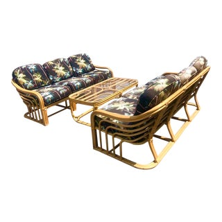 Late 20th Century Brown Jordan Rattan Patio Sofas & Table - Set of 3 For Sale