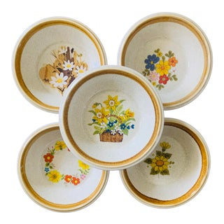1970s Mismatched Mikasa Stone Manor Cereal Bowls - Set of 5 For Sale