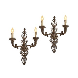 Pair of Monumental Classical Revival Cast Bronze Sconces by Caldwell Circa 1910s