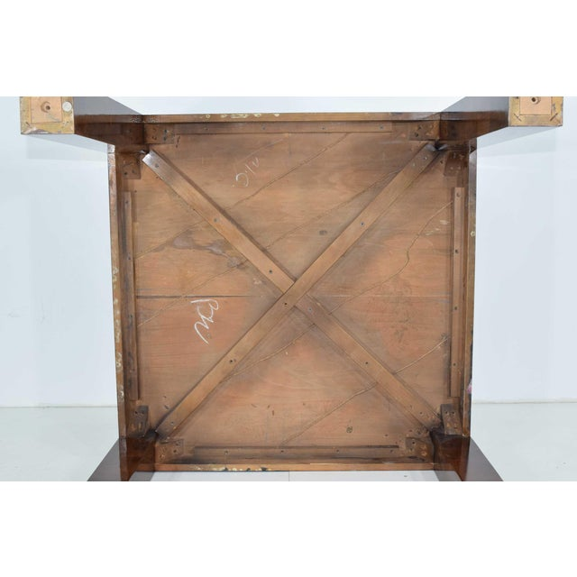 1970s Milo Baughman Burl Wood Parquet Card or Dining Table For Sale - Image 5 of 13