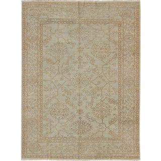 Fine Transitional Rug With Stylized Geometric Motifs in Steel Blue and Brown For Sale
