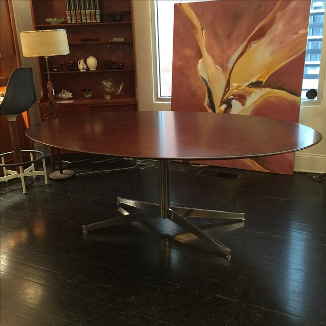 Florence Knoll Oval Solid Walnut Table - Image 2 of 8