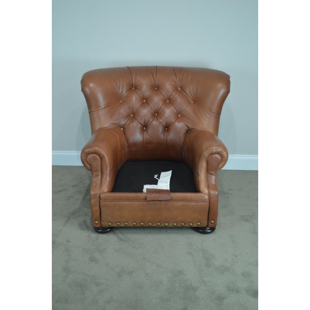Animal Skin Brown Tufted Leather Writers Club Chair (A) For Sale - Image 7 of 13